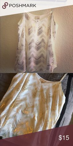 BKE shimmer Tank White with Gold shimmer stripes! Only worn once and in great condition! Size small but fits more like a Medium BKE Tops Tank Tops