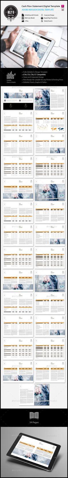 Cash Flow Statement Digital Template Adobe indesign, Cash flow - cash flow statement