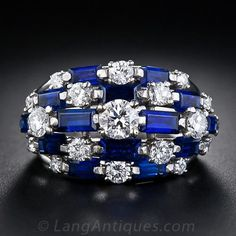 'Oscar Heyman' Diamond and Sapphire Dome Ring - 30-1-1882 - Lang Antiques