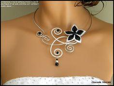 Collier mariage noir et blanc bijou fleur satin aluminium argenté mar