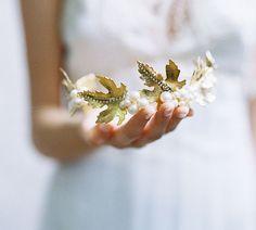 Woodland leaf pearl bridal crown  Style by EricaElizabethDesign, $435.00
