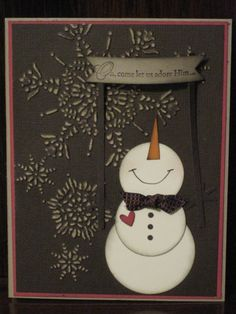 "Vintage Snowman Adoring Him--Stamp Set: Come to Bethlehem   Card Stock: Crumb Cake, Rose Red, Core'dinations Early Espresso, Pumpkin Pie, Early Espresso   Ink: Early Espresso   Owl Punch, Northern Flurry ef, Snow Flurry die, Bitty Banners framelits, 1 1/4"", 1 3/8"", and 1 3/4"" circle punches, Early Espresso Quilted Ribbon (retired)"
