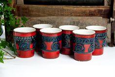 6 red fat lava mugs, ceramic water cup, vintage mugs, ceramic mugs, unique mug, mug set, ceramic cup, juice cup, water mug, juice mug
