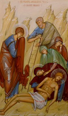 Descent From the Cross by Philip Davydov God and Jesus Christ Life Of Christ, Art Icon, Religious Icons, Orthodox Icons, Sacred Art, Pictures To Draw, Art Drawings, Scene, Artwork