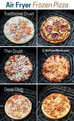 Crispy air fried frozen pizza is super easy and a game changer! Learn air fryer time and temp for frozen pizza to make it perfect and amazing. Air Fryer Recipes Chips, Air Frier Recipes, Air Fryer Dinner Recipes, Air Fryer Recipes Easy, Easy Recipes, Low Carb Recipes, Cooking Recipes, Ninja Recipes, Cooking Food
