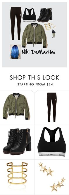 """""""Niki DeMartino"""" by cianna3 ❤ liked on Polyvore featuring Hollister Co., adidas Originals, Calvin Klein, Kenneth Jay Lane and GUiSHEM"""