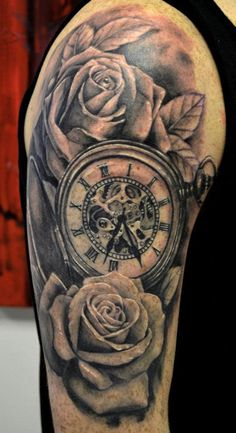 clock n black rose - 40 Awesome Watch Tattoo Designs | Art and Design