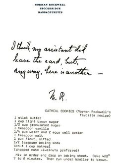 Norman Rockwell's Typewritten Recipe for His Favorite Oatmeal Cookies