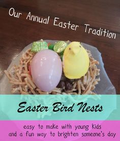 "Pennies of Time""  Adventure:  Easter Bird Nests.  A yearly tradition of edible nest making at Easter time.  Our favorite part of this is deliverying the treats!  Teach children to serve."
