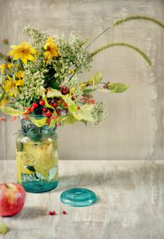Scissors and Spice: Fall Woodland Bouquet in Blue Mason Jar for Party Table Setting