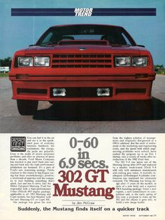 1982 Ford Mustang 5.0 liter 302 GT review in Motor Trend.  302 CI V-8 @ 157 HP.