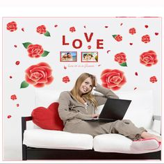 Find More Wall Stickers Information about New Removable diy 3DRose Life Is The Flower Wall Sticker ,Rose Flower Mural Decal Room Art Decor DIY Romantic  WS014,High Quality flower wall sticker,China wall sticker Suppliers, Cheap art decor from Household Products wholsale and Retail on Aliexpress.com