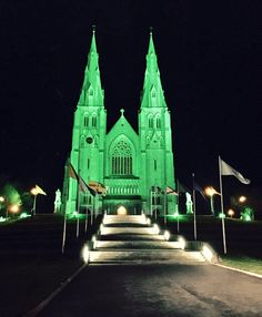St. Patrick's Day ~ St. Patrick's Cathedral lit in green, 2017. Armagh, Northern Ireland