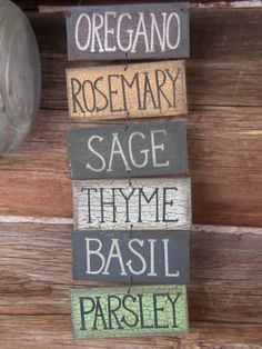 Set of Wooden Herb Garden Signs Prim Shabby Garden by takintime