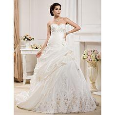 Ball Gown Sweetheart  Court Train Taffeta  Wedding Dress  – USD $ 199.49