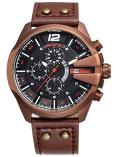 Skone Herren Schwarz Brown Sport Outdoor Chronograph Leuchtzeiger coole Militär Design Quarzuhr Analog Anzeiger Armbanduhr - http://uhr.haus/findtime/skone-herren-schwarz-brown-sport-outdoor-coole-3