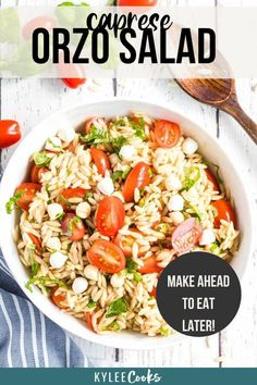 An easy side, this Caprese Orzo salad combines tomatoes, fresh mozzarella and basil with a yummy homemade balsamic vinaigrette. Make ahead! #caprese #orzo #salad #pastasalad #side #kyleecooks Vegetarian Salad Recipes, Easy Salad Recipes, Chicken Salad Recipes, Easy Salads, Crockpot Recipes, Cooking Recipes, Sweets Recipes, Orzo Salad, Tomato Mozzarella