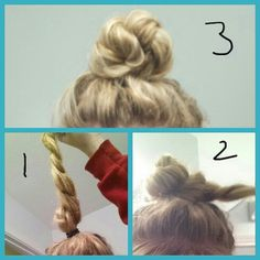 EASY TOP KNOT- 1 MINUTE TOP KNOT BUN. Simple and cute! For medium length and or long hair, works with thin or thick hair! Step 1- pull your hair up into a high ponytail, twist or braid it. Step 2- Wrap the hair around itself until it is in the desired shape and pin it. Step 3- Enjoy your easy yet detailed looking hairstyle!! :) #topknot #top #knot #easy #simple #hairstyle #hairstyles #hair #bun #medium #length #long #one #minute #quick #cute #diy