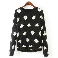 Sweet Round Neck Sunflower Pattern Asymmetrical Hem Long Sleeve Sweater For Women
