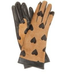 Burberry Prorsum - Jenny heart-printed calf hair and leather gloves