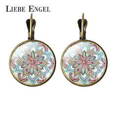 Liebe engel新しい2017女性ジュエリーラインストーン曼荼羅イヤリングヘナイヤリング用女性omシンボル仏教禅レトロジュエリー