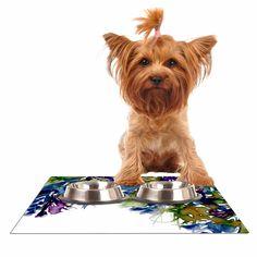"""Ebi Emporium """"Floral Cascade 4"""" Purple Green Dog Place Mat"""
