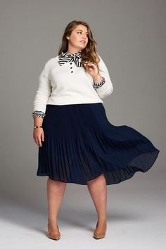 Girl With Curves Fall 2017 Plus Size Clothing Collection. Hi-Low Skirt, Stripe Blouse, Sweater