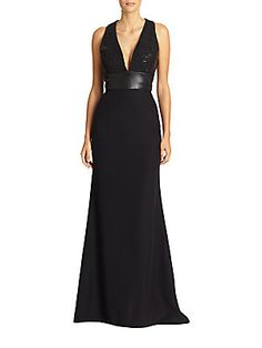 Crepe and Leather Combo Gown