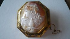 Beautiful Victorian Rare Large 15ct Gold Cameo Brooch Pin