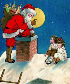 Image result for pictures of victorian santa's going down chimneys