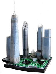 Microscale of the New World Trade Center Memorial.  Spencer R. is known for his beautiful and accurate microscale architectural landmarks. His latest microscale World Trade Center Memorial makes an impression with the blue-tinted glass buildings that seem to reflect the sky.