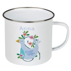 This personalised bird enamel mug is perfect for children. Personalised with your name and featuring a delightful bird design. Novelty Mugs, Novelty Gifts, Special Gifts For Mum, Personalised Mugs, Bird Design, Children, Kids, Coffee Mugs, Enamel