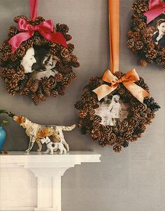 DIY - Super glue pine cones to create a circle onto a square dollar-store frame, and add ribbon for a sweet rustic look!
