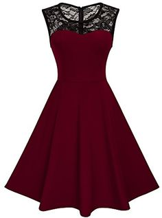 dress Cocktail womens - New HOMEYEE Women's Vintage Chic Sleeveless Cocktail Party Swing Dress online - Toplikestylish Homecoming Dresses Tight, Grad Dresses, Dance Dresses, Ball Dresses, Short Dresses, Prom Gowns, Vintage Red Dress, Vintage Dresses, 1950s Dresses