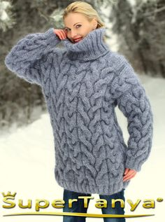 Made to order gray hand knitted mohair sweater, turtleneck cable knit grey pullover by SuperTanya