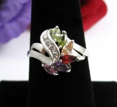 Colorful-MARQUISE-Spray-Stone-RING-Vintage-18K-GE-Silvertone-Size-9-Rhinestones