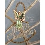 """Vintage Image on card stock. Tinsel and glitter accents. 8"""" x 8"""". A Bethany Lowe Design. Imported."""
