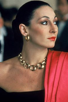 "Anjelica Huston. Stunning.  ""I remember overhearing a conversation between my mother and father...to the effect that Anjelica wasn't going to be a beauty. My way of dealing with that, even then, was: I'm going to make myself beautiful. I might not have physical perfection, but I'm going to think myself into being beautiful."""