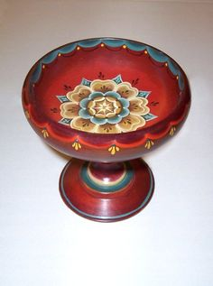 Norwegian Rosemaling- footed serving bowl?