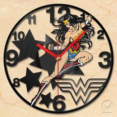 I totally need this for my office!  I found it on Etsy at https://www.etsy.com/listing/130176223/vinyl-wall-clock-wonder-woman