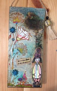 small hanging made for collage week using Carabelle Studio Stamps.