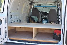 "On we go to the bed.  The Ford E350 van is 6' wide inside.  We decided to put our bed sideways to give us more ""living"" space in the cent..."