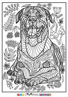 Free printable Rottweiler coloring page available for download. Simple and detailed versions for adults and kids.