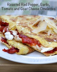 Goat Cheese & Roasted Red Pepper Omelettes.  I'm the only one that would eat this but what a yummy treat for mommy