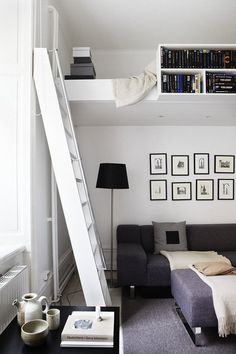 Bookshelves provide storage and privacy. Other side could be made as storage…