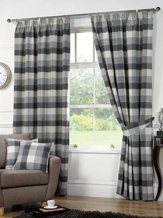 Imperial Check Ready Made Lined Curtains in Grey - Terrys Fabrics UK