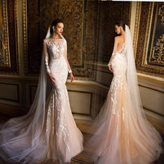 3f72b6fc40ed1 Mermaid Wedding Dresses Boat Neck Sheer Long Sleeves Tulle Bride Gown With  Appliques Lace 2016 vestido