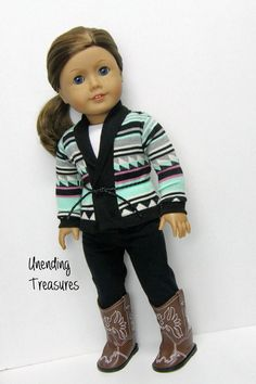 American Girl doll clothes 18 inch doll by Unendingtreasures American Girl Outfits, American Girl Crafts, American Doll Clothes, My American Girl Doll, Ag Doll Clothes, Doll Clothes Patterns, Clothing Patterns, Dress Patterns, Poupées Our Generation