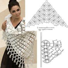 Best 12 crochet a fashion scarf – SkillOfKing. Crochet Lace Scarf, Pull Crochet, Knitted Shawls, Love Crochet, Crochet Scarves, Crochet Clothes, Knit Crochet, Crochet Diagram, Crochet Chart