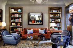 The intimate library created by David Kleinberg Design Associates calls upon the harmonious spaces of Albert Hadley and Henri Samuel for inspiration. Among the standout furnishings are a tapered bronze and glass side table by Roberto Rida, from L'Art De Vivre, and a gilt bronze, amethyst and stained-glass coffee table by Claude Boeltz, from Maison Gerard.